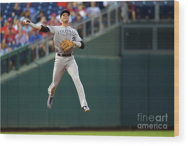 Second Inning Wood Print featuring the photograph Troy Tulowitzki by Drew Hallowell