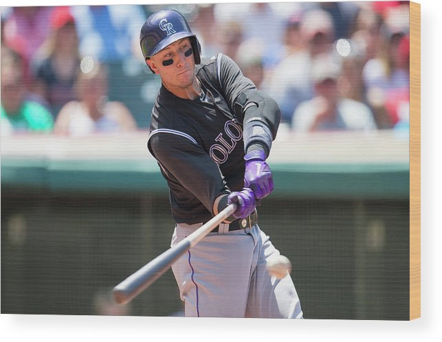 American League Baseball Wood Print featuring the photograph Troy Tulowitzki by Jason Miller
