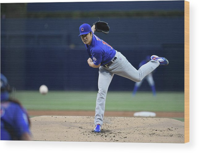 American League Baseball Wood Print featuring the photograph Tsuyoshi Wada by Denis Poroy