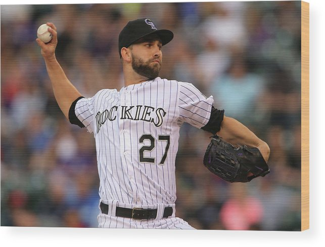 Baseball Pitcher Wood Print featuring the photograph Tyler Chatwood by Doug Pensinger