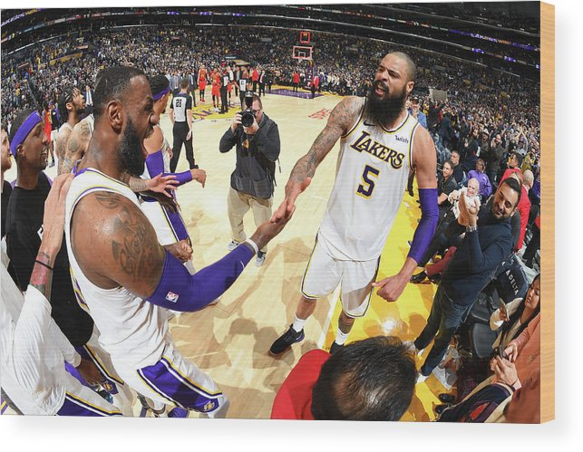 Nba Pro Basketball Wood Print featuring the photograph Tyson Chandler and Lebron James by Andrew D. Bernstein
