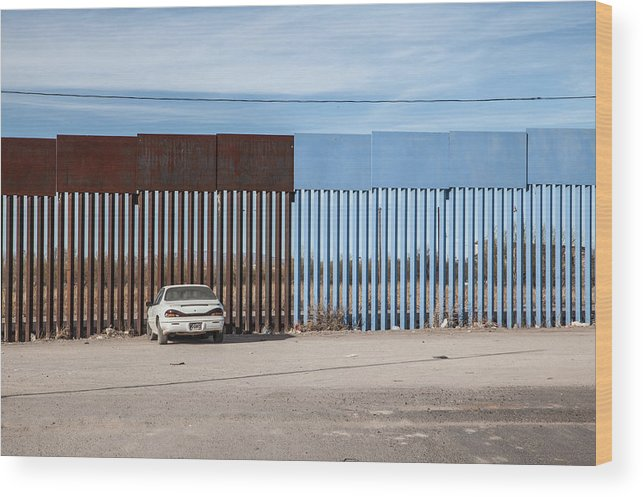 The End Wood Print featuring the photograph US-Mexico border fence by Christina Felschen