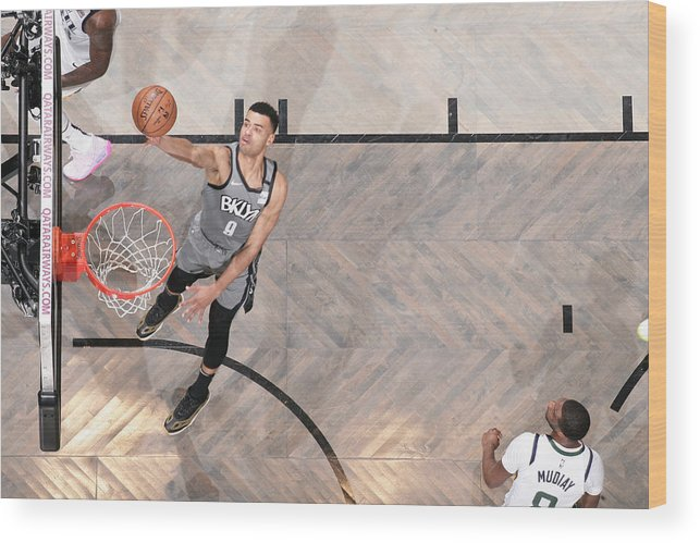Nba Pro Basketball Wood Print featuring the photograph Utah Jazz v Brooklyn Nets by Nathaniel S. Butler