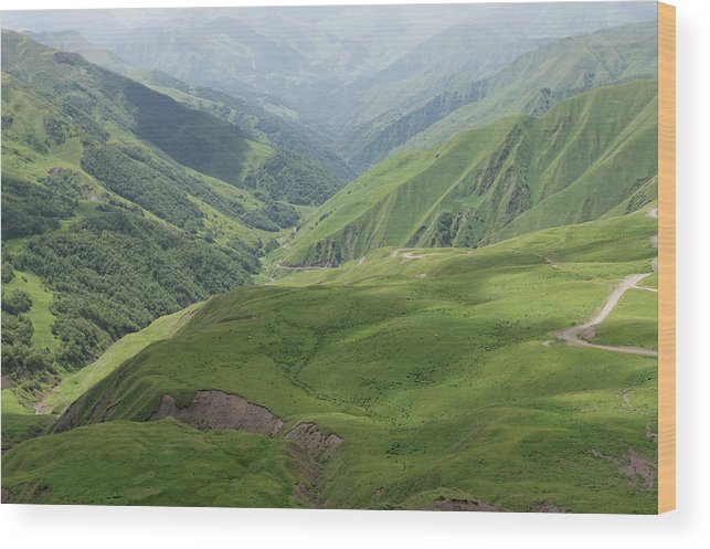Georgia Wood Print featuring the photograph Valley in the Caucasus Mountains, Khevsureti, Georgia by Vyacheslav Argenberg