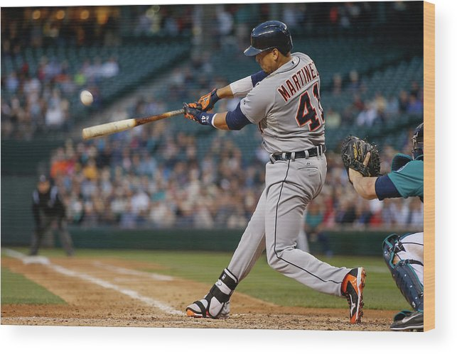 American League Baseball Wood Print featuring the photograph Victor Martinez by Otto Greule Jr