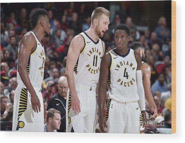 Nba Pro Basketball Wood Print featuring the photograph Victor Oladipo and Domantas Sabonis by David Liam Kyle