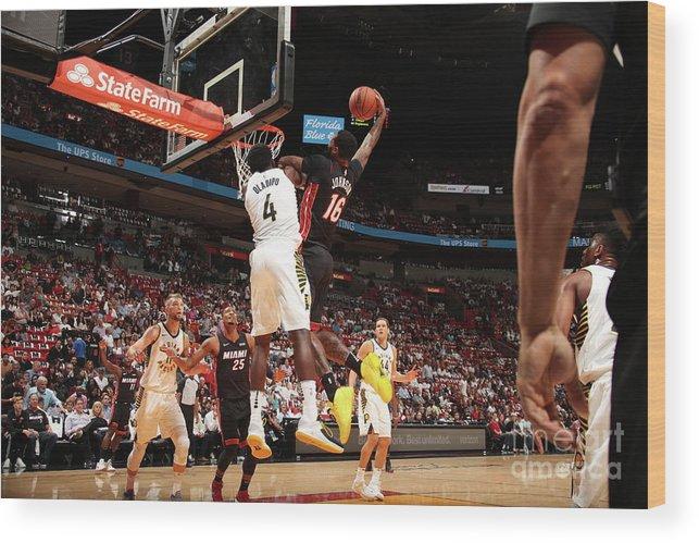 Nba Pro Basketball Wood Print featuring the photograph Victor Oladipo and James Johnson by Issac Baldizon