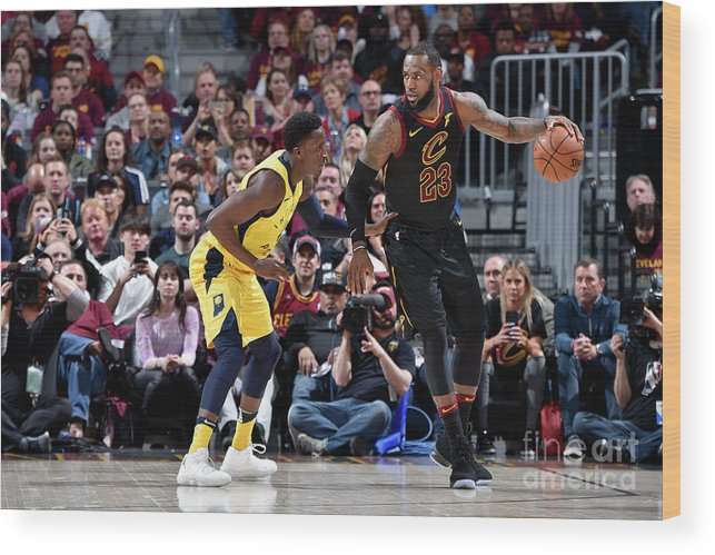 Playoffs Wood Print featuring the photograph Victor Oladipo and Lebron James by David Liam Kyle