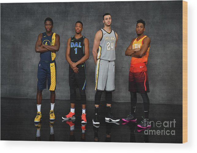 Nba Pro Basketball Wood Print featuring the photograph Victor Oladipo, Larry Nance, and Donovan Mitchell by Jesse D. Garrabrant