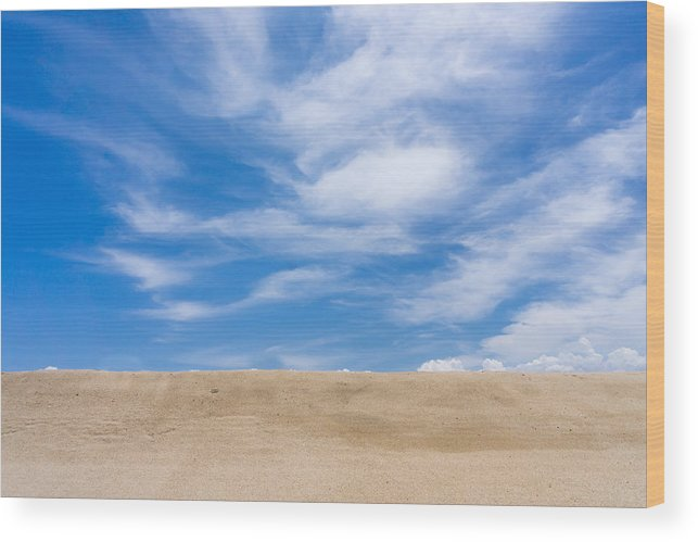 Tranquility Wood Print featuring the photograph View Of Sand Against Blue Sky And Clouds by Jesse Coleman / Eyeem