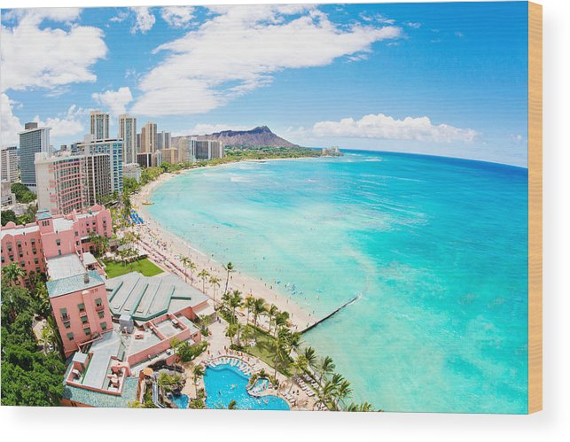 Outdoors Wood Print featuring the photograph Waikiki beach by M.M. Sweet