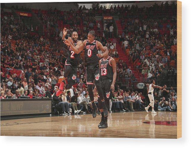 Nba Pro Basketball Wood Print featuring the photograph Wayne Ellington and Josh Richardson by Issac Baldizon