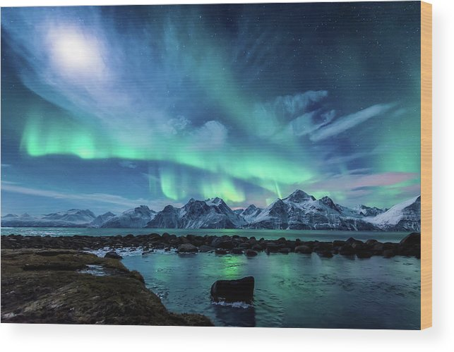 Moon Wood Print featuring the photograph When the moon shines by Tor-Ivar Naess