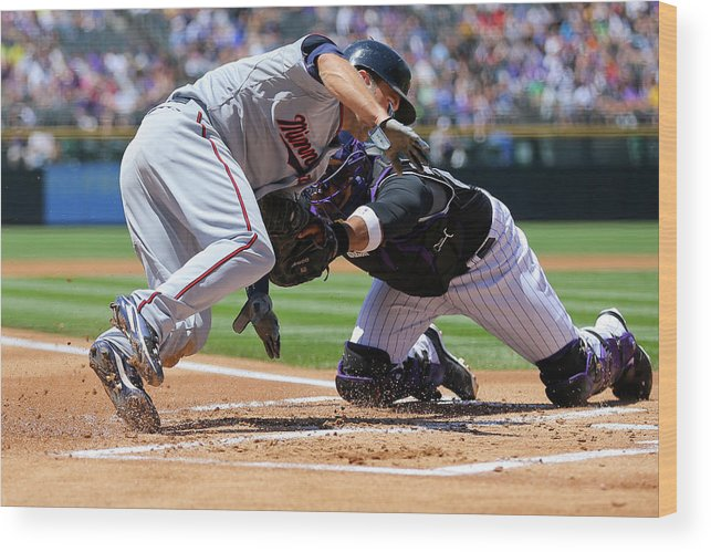 Baseball Catcher Wood Print featuring the photograph Wilin Rosario and Brian Dozier by Justin Edmonds