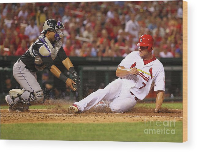 St. Louis Cardinals Wood Print featuring the photograph Wilin Rosario and Matt Holliday by Dilip Vishwanat