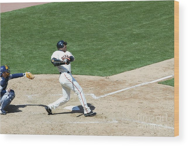 San Francisco Wood Print featuring the photograph Willie Mays and Barry Bonds by Jed Jacobsohn