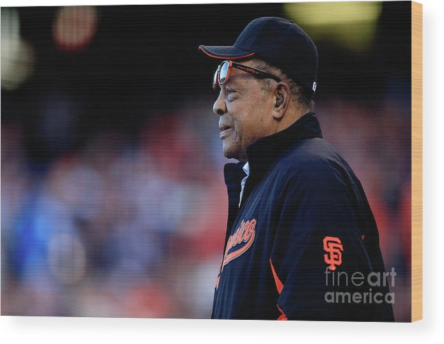 San Francisco Wood Print featuring the photograph Willie Mays by Jamie Squire