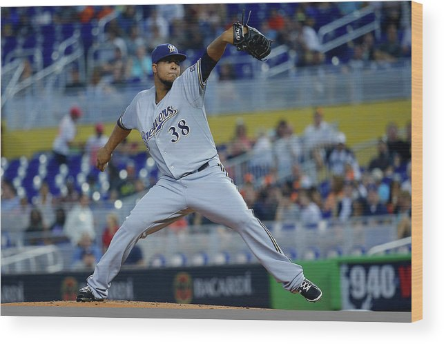 American League Baseball Wood Print featuring the photograph Wily Peralta by Chris Trotman