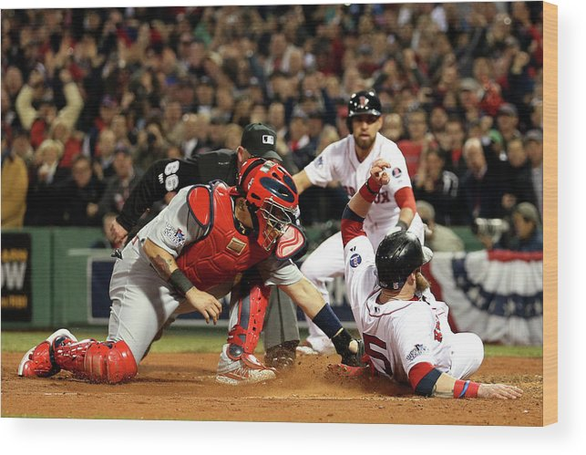 Playoffs Wood Print featuring the photograph Yadier Molina and Jonny Gomes by Rob Carr