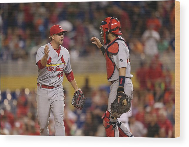 St. Louis Cardinals Wood Print featuring the photograph Yadier Molina and Trevor Rosenthal by Rob Foldy