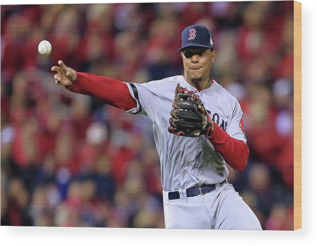American League Baseball Wood Print featuring the photograph Yadier Molina and Xander Bogaerts by Dilip Vishwanat