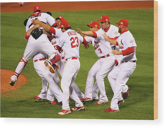 St. Louis Cardinals Wood Print featuring the photograph Yadier Molina, Gerald Laird, and David Freese by Dilip Vishwanat