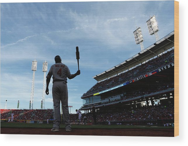 Great American Ball Park Wood Print featuring the photograph Yadier Molina by Joe Robbins