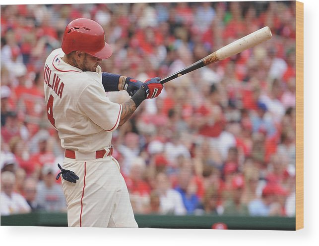 St. Louis Cardinals Wood Print featuring the photograph Yadier Molina by Michael Thomas