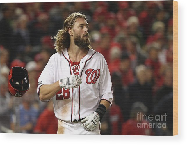People Wood Print featuring the photograph Yasmani Grandal and Jayson Werth by Patrick Smith