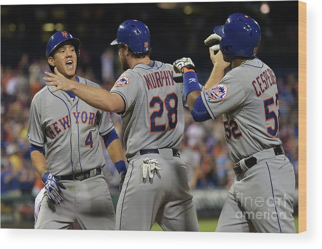 Yoenis Cespedes Wood Print featuring the photograph Yoenis Cespedes, Daniel Murphy, and Wilmer Flores by Drew Hallowell