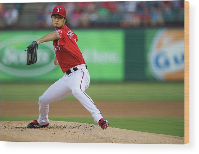 American League Baseball Wood Print featuring the photograph Yu Darvish by Cooper Neill