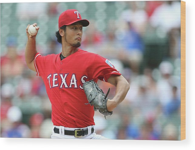 American League Baseball Wood Print featuring the photograph Yu Darvish by Rick Yeatts