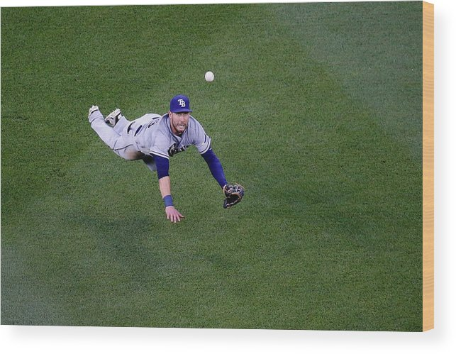 Second Inning Wood Print featuring the photograph Yunel Escobar and Kevin Kiermaier by Rob Carr