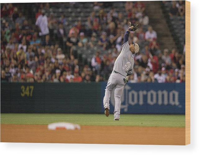American League Baseball Wood Print featuring the photograph Yunel Escobar by Paul Spinelli