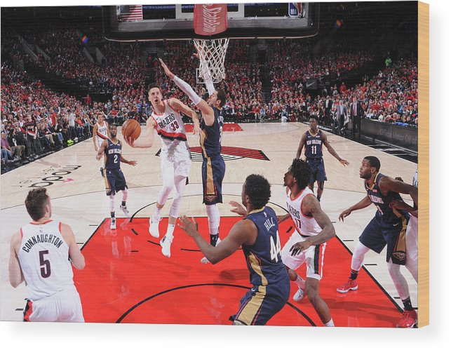Playoffs Wood Print featuring the photograph Zach Collins by Cameron Browne
