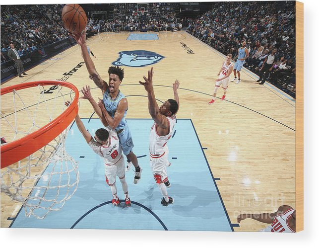 Chicago Bulls Wood Print featuring the photograph Zach Lavine and Thaddeus Young by Joe Murphy