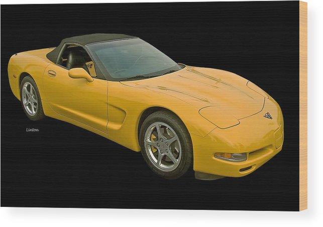 Corvette Wood Print featuring the photograph Yellow Corvette 2 by Larry Linton