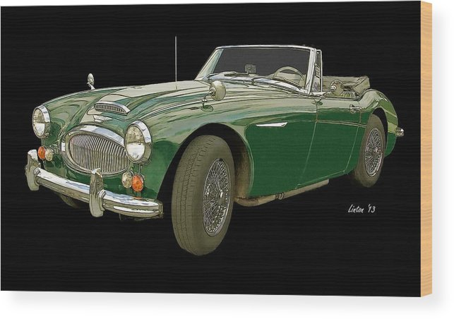 Austin Healey 3000 Wood Print featuring the digital art British Racing Green by Larry Linton