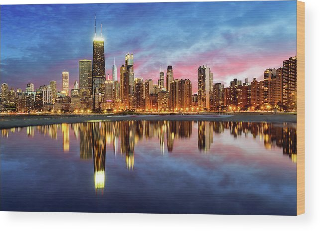 Tranquility Wood Print featuring the photograph Chicago by Joe Daniel Price