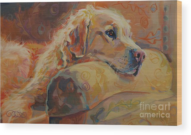 Golden Retriever Wood Print featuring the painting Daydream by Kimberly Santini