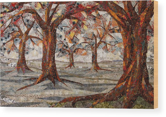 Trees Wood Print featuring the tapestry - textile Interwoven by Linda Beach