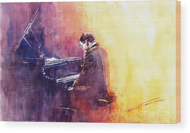 Jazz Wood Print featuring the painting Jazz Herbie Hancock by Yuriy Shevchuk