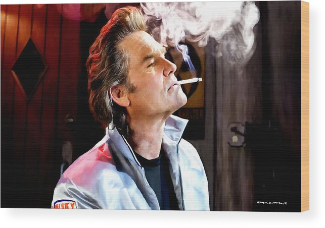Death Proof Wood Print featuring the digital art Kurt Russell @ Death Proof by Gabriel T Toro