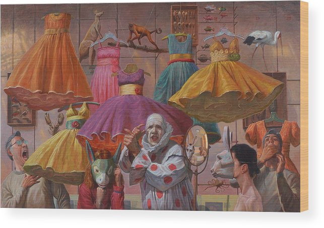 Clown Wood Print featuring the painting Mind Games by Alfredo Arcia