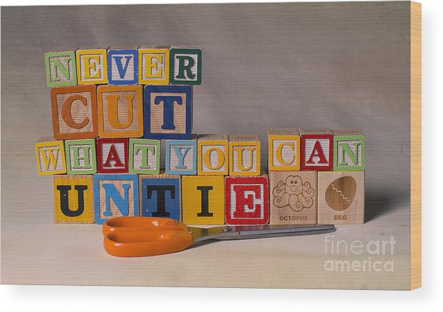 Never Cut What You Can Untie Wood Print featuring the photograph Never Cut What You Can Untie by Art Whitton