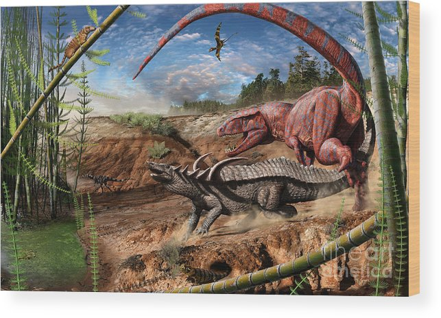 Dinosaur Wood Print featuring the digital art Triassic mural 2 by Julius Csotonyi