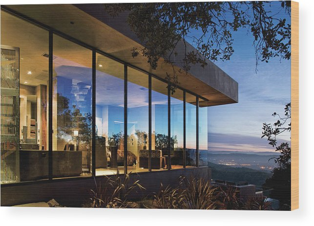 No People Wood Print featuring the photograph View Of Luxurious Resort At Dusk by Scott Frances