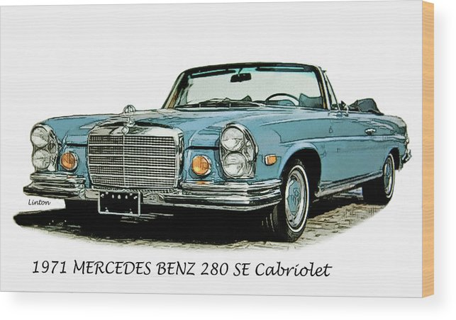 Mercedes Benz Wood Print featuring the digital art Cabriolet by Larry Linton