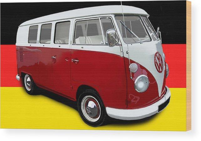 Adventure Wood Print featuring the digital art VW Campervan German Flag by Richard Herron