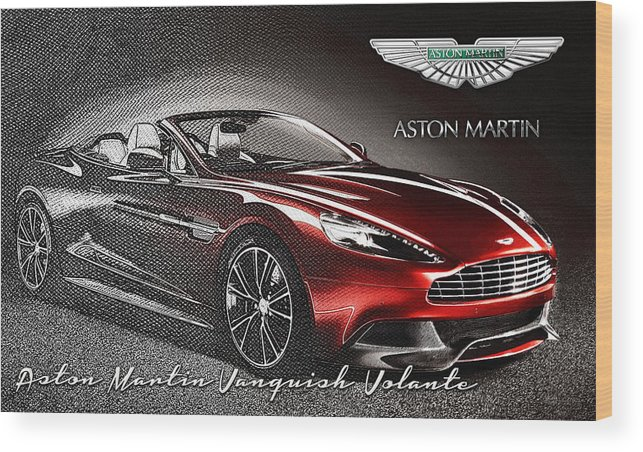�wheels Of Fortune� Collection By Serge Averbukh Wood Print featuring the photograph Aston Martin Vanquish Volante by Serge Averbukh